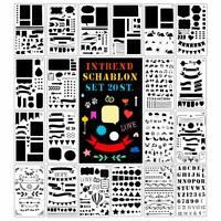 20 Schablonen Set aus Kunststoff Zeichenschablonen Muster für Bullet Journal