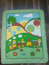 Vtg That's Our Baby Blanket~Green Gingham~Train~Trees~Sheep ~Flowers~Quilted