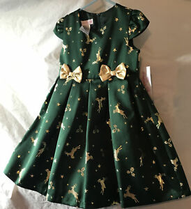 Bonnie Jean Green Dress. Gold Reindeer And 2 Bows. Girls Size 5. New With Tag.
