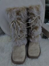 BOOTS: Faux Suede+Fur: Pale  Tan: Calf Length:  Pull on: Size 7:  BN no Tag
