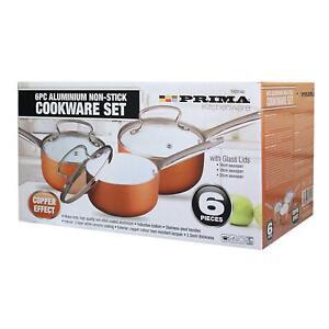 PRIMA 6 Pcs Cookware Set | Non-Stick |Cooper Saucepan with Lid