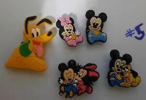 CROCS shoe Charms set of 5 - DISNEY Babies ~NEW~ Minnie, Mickey, Pluto