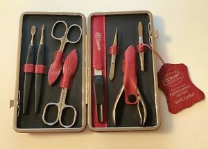 Hans Kniebes 8-Piece Nickel-Plated Cowhide Leather Manicure Case Set Red RRP€175