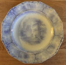 "Antique James Edwards Foliage Ironstone Dessert Plate 7.5"" Blue & White 1840s"