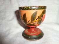 Rare Authentic Antique Primitive 19th.c Lehnware Painted Wood Master Salt Cup