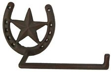 Cast Iron  Horseshoe & Star Toilet Paper Holder Rustic Brown Western Decor