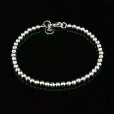 "New Women Jewelry 925 Sterling Silver 8"" Bangle 4MM Beads Bracelet Free Shipping"