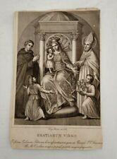 Incisione Madonna in trono con bambino tra due Santi - Gratiarum Virgo 1853