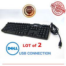 (LOT of 2) BLACK DELL USB WIRE KEYBOARD L100 OR SK-8115 or KB522 Genuine OEM