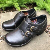 BOC Born Original Concept Women's 9 Brown Black Leather Buckle Clog Shoes