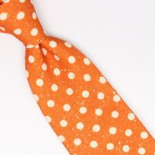 John G Hardy Mens Shantung Silk Necktie Orange White Polka Dot Slub Weave Tie