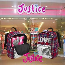 2 X Brand New - Justice Tartan Plaid Backpacks - Original With Tags