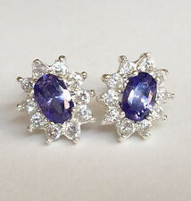 Sterling Silver Blue Tanzanite Halo Earrings Simulated Princess Post Pierced 925