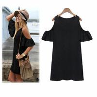 Women Beach Casual Cold Shoulder Evening Party Summer Short Mini Dress Plus 3XL