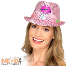Light Up Sequin Hen Party Trilby Hat Ladies Fancy Dress Adults Costume Accessory