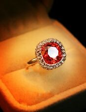 Rose Gold Plated Coral Red Women Cocktail Crystal Ring Size 6 R153