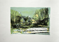 Benninghoff: Landschaft in Grün [19]79. Signierte Original-Farblithografie.