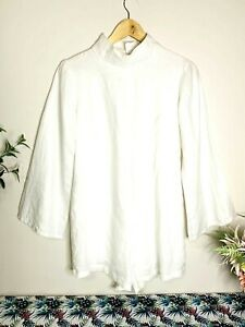 CW THE LABEL White Cotton Size M Boho L/S Playsuit Romper Made In Indonesia