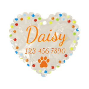 PVC ID Name Tag Personalized Paw Printed Custom Heart Shape Dog Cat Tags White