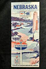 Minty 1966 STANDARD OIL CO. TORCH NEBRASKA ROAD MAP ~CAR GAS ADVERTISING old vtg