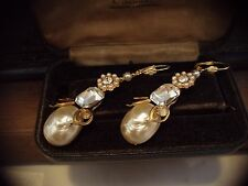 Vintage Jewellery Gold, Baroque Pearl & Crystal Drop Pierced Earrings. Haskell