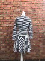 Zara Blue Striped Skater Dress Long Sleeved Swing Dress Size XS B17