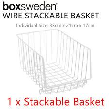 Metal Wire Stackable Basket Bin Tray Tier Shelf Shelve Storage Organiser Kitchen