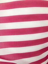 Fuchsia White Striped Chiffon Fabric (60 in.) Sold By The Yard