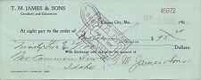 Vintage Paper Ephemera Check JAMES CROCKERY GLASSWARE Kansas City Missouri 1908