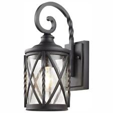 1-Light Black 14.5 in. Outdoor Wall L. Sconce w/Seeded Glass by Home Decorators