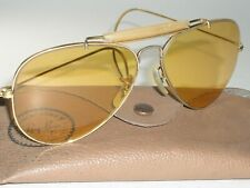 1960's 58[]14 VINTAGE B&L RAY-BAN WRAP-AROUNDS AMBERMATIC OUTDOORSMAN SUNGLASSES