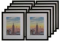Frame Amo 16x20 Black Picture Frame with White Mat for 11x14, 1 inch border