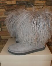 NIB UGG LIDA Classic Short Mongolian Cuff Boots US 10 GRAY RARE! HARD TO FIND!