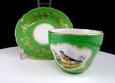 "OLD PARIS ANTIQUE PORCELAIN BIRD DESIGN GREEN & GOLD TRIM 2 1/2"" CUP & SAUCER"