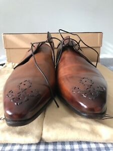 SANTONI MENS DION DARK BROWN LEATHER LACE-UP SHOES HAND MADE IN ITALY SIZE UK 11