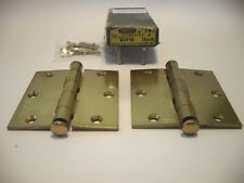 "Vintage NOS Dull Brass Plated Steel Door HINGES 3-1/2"" X 3-1/2"" Stanley 241 F"