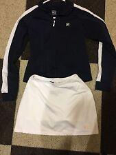 FILA Tennis Jacket Skirt Skort Set Women's Small Dark Blue White Made In USA EUC