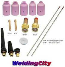 TIG Welding Torch 17/18/26 Kit 1/16-3/32 Gas Lens Tungsten (Red) T53A US Seller