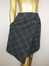 CUE SKIRT ASYMMETRICAL TARTAN PLAID WRAP SKIRT SUIT CAREER 6