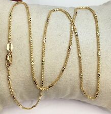 "18k Solid Yellow Gold Italian Rectangle & Franco Chain Necklace, 20"". 6.60Grams"