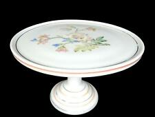 """EAPG CHALLINOR TAYLOR CO OPAL MILK GLASS FLORAL MOTIF RINGED 9"""" CAKE SALVER 1884"""