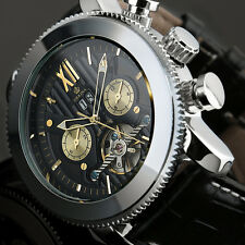 ORKINA  Black Leather Tourbillon Cage Outdoor Sports Automatic Mechanical Watch