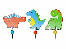 Wooden Painted Dinosaur animal Hooks Childrens Kids Bedroom Coat Door Mousehouse