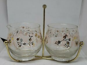 VTG Mid Century Libbey Glass Creamer Sugar Bowl + Stand Pink & Gold Floral