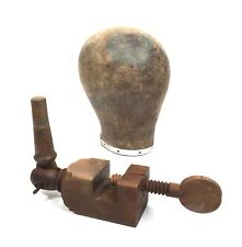 Antique Millinery Canvas Mannequin Head On Wooden Clamp Vintage Shop Display