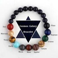 Unisex Eight Planets Bead Bracelet Natural Stone Universe Yoga Chakra Bangle NEW