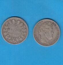 // 5 Francs argent Louis-Philippe Laurée Tranche en relief 1831 Bayonne