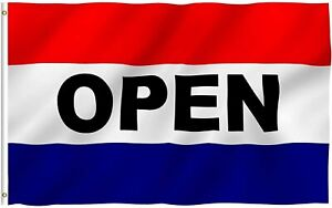 OPEN Flag Red White Blue Store Banner Advertising Pennant Business Sign 3'x5'