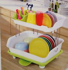 New Plastic Dish Rack,Dish Drainer,Double Deck,with Tray & Drainer 26492 Green
