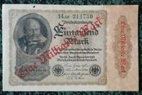 1 Milliarde Germany Weimar Reichsbanknote -1000 Mark Overprint - Berlin 1922